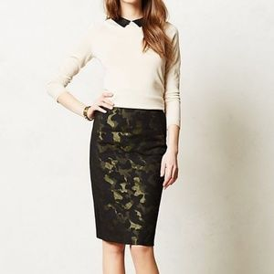 Maeve (Anthro) Black & Green Camo Pencil Skirt - 6